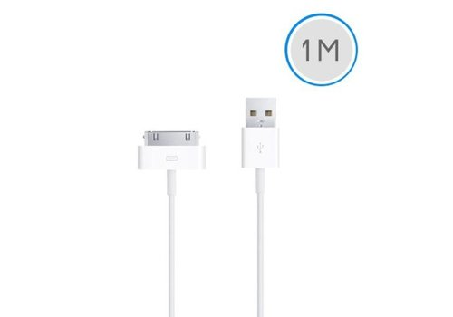1 meter 30-pins USB oplaad data kabel voor Apple iPhone 3GS/4/4S iPad 1/2/3 en iPod - wit