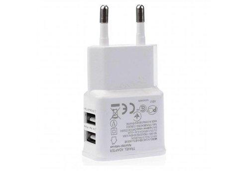 USB thuislader - 2x USB - 2100 mA - Wit