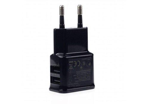 USB thuislader - 2x USB - 2100 mA - Zwart