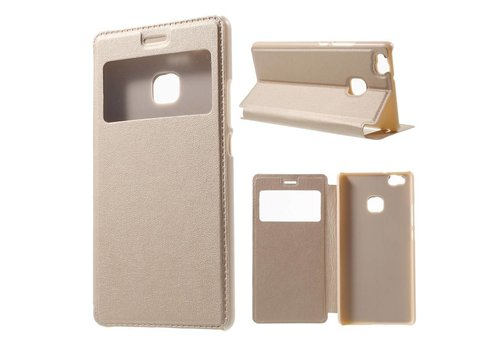 Huawei P9 Lite / G9 Lite View Window Leather Flip Case - Goud