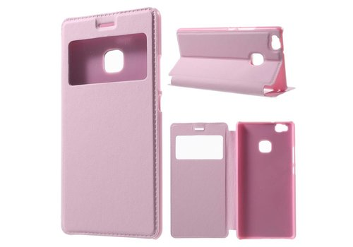Huawei P9 Lite / G9 Lite View Window Leather Flip Case - Roze
