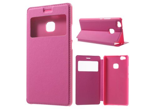 Huawei P9 Lite / G9 Lite View Window Leather Flip Case - Hot Pink / Magenta