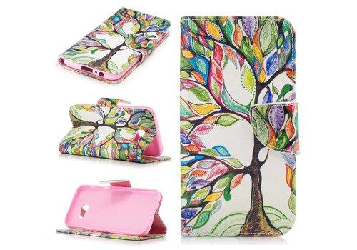 Samsung Galaxy A5 (2017) PU lederen Portemonnee Hoesje met Kaarthouder - Colorful Tree Design