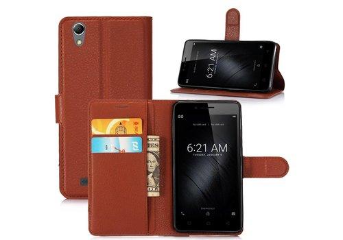 Huawei P10 - PU lederen TPU Portemonnee hoesje met Kaarthouder Lychee - Bruin
