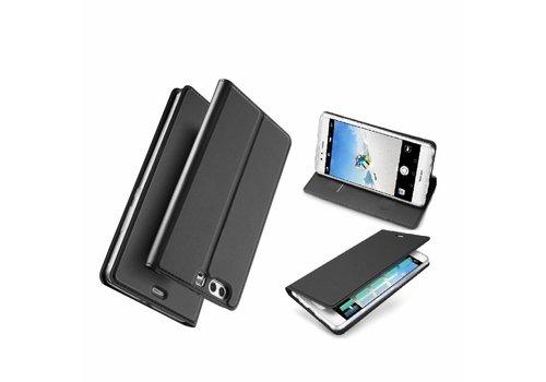 Huawei P10 Plus - PU lederen Bookcase Hoesje met Kaarthouder - Zwart