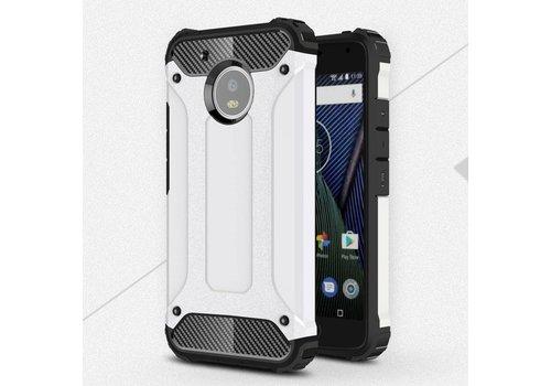 Motorola Moto G5 - Stevig Hybride Beschermhoesje met Aluminium Backcover Shockproof - Wit
