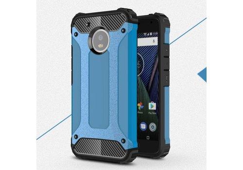 Motorola Moto G5 - Stevig Hybride Beschermhoesje met Aluminium Backcover Shockproof - Blauw
