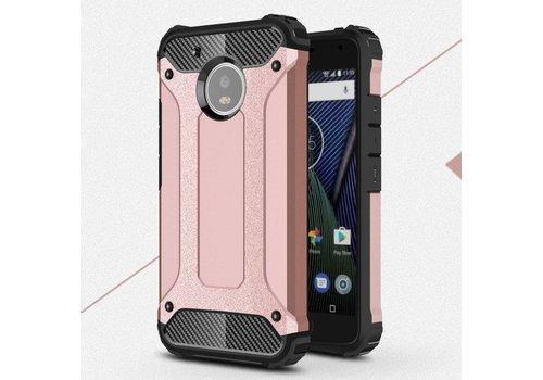 Motorola Moto G5 - Stevig Hybride Beschermhoesje met Aluminium Backcover Shockproof - Rose Goud