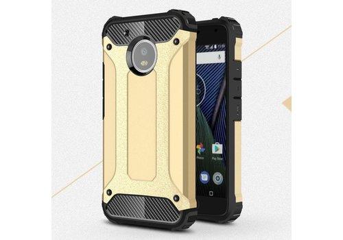 Motorola Moto G5 - Stevig Hybride Beschermhoesje met Aluminium Backcover Shockproof - Goud