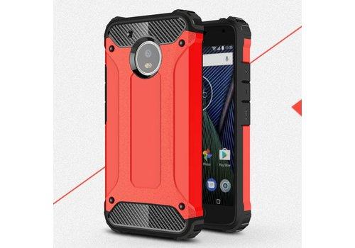Motorola Moto G5 - Stevig Hybride Beschermhoesje met Aluminium Backcover Shockproof - Rood