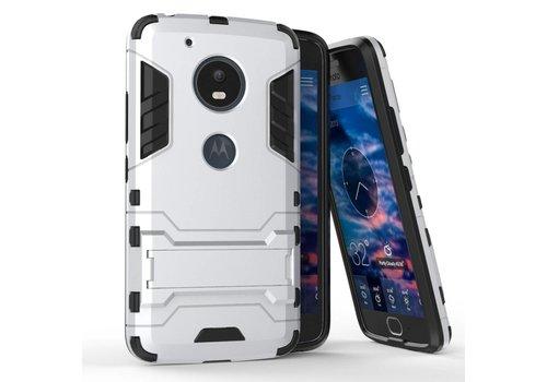 Motorola Moto G5 - Hybride Hardcase Stevig Hoesje met Standaard - Zilver