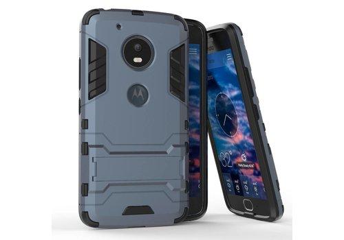 Motorola Moto G5 - Hybride Hardcase Stevig Hoesje met Standaard - Donker Blauw