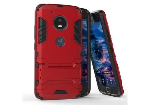 Motorola Moto G5 - Hybride Hardcase Stevig Hoesje met Standaard - Rood