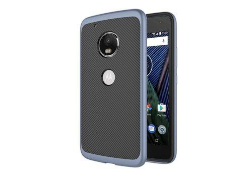 Motorola Moto G5 - Carbon Fiber Textuur Back Cover Hardcase - Donker Blauw