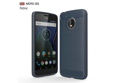 Motorola Moto G5 - Geborsteld Hard Back Case Carbon Fiber Design - Donker Blauw