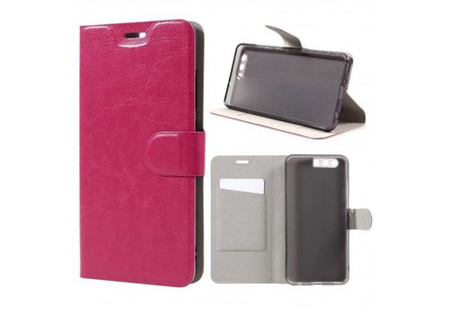 Huawei P10 Plus - Portemonnee Hoesje Wallet Case - Magenta Hot Pink