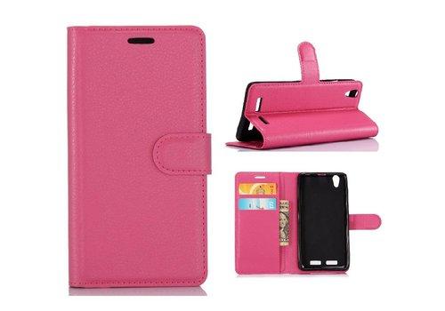 Huawei P10 - PU lederen TPU Portemonnee hoesje met Kaarthouder Lychee - Magenta Hot Pink