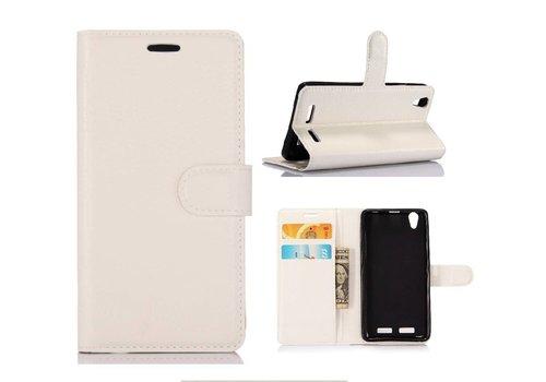 Huawei P10 - PU lederen TPU Portemonnee hoesje met Kaarthouder Lychee - Wit