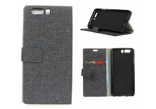 Huawei P10 - Denim Design Linnen Textuur Lederen Portemonnee Hoesje met Kaarthouder - Zwart