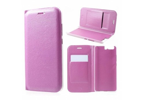 Huawei P10 - Luxe Lyche Flipcover Hoesje - Book Case Cover - Roze