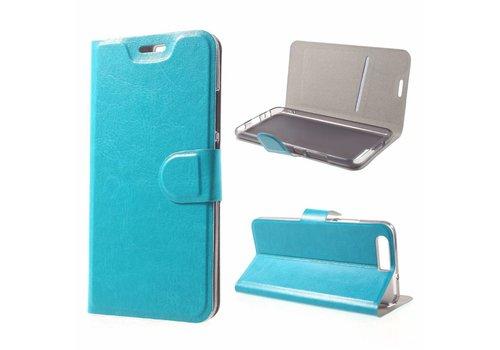 Huawei P10 - PU Lederen Case Hoesje met Pashouder - Cyaan Turquoise