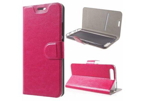 Huawei P10 - PU Lederen Case Hoesje met Pashouder - Magenta Hot Pink