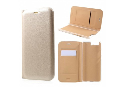 Huawei P10 - Luxe Lyche Flipcover Hoesje - Book Case Cover - Goud