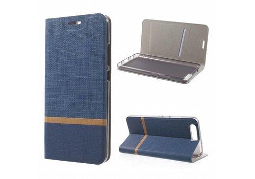 Huawei P10 - Wallet Case Hoesje - Book Case Denim en Leer - Blauw Default