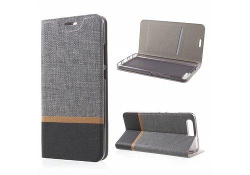 Huawei P10 - Wallet Case Hoesje - Book Case Denim en Leer - Grijs