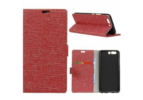 Huawei P10 - Denim Design Linnen Textuur Lederen Portemonnee Hoesje met Kaarthouder - Rood