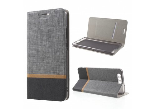 Huawei P10 Plus - Wallet Case Hoesje - Book Case Denim en Leer - Grijs