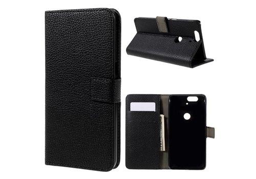 Huawei Nexus 6P - PU Lederen Portemonnee Hoesje met Kaarthouder Lychee Design - Zwart