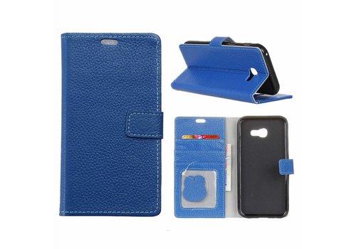 Samsung Galaxy Xcover 4 - PU lederen TPU Portemonnee hoesje met Kaarthouder Lychee - Blauw
