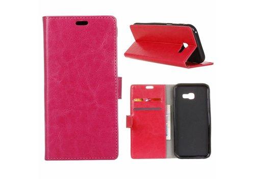 Samsung Galaxy Xcover 4 - PU Lederen Portemonnee Hoesje met Kaarthouder - Magenta Hot Pink