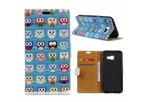 Samsung Galaxy Xcover 4 - Portemonnee Hoesje met Kaarthouder - Multiple Colorful Owls Design