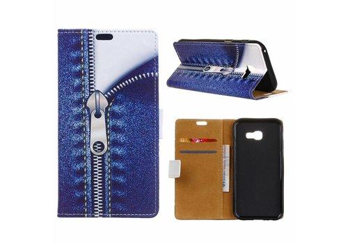 Samsung Galaxy Xcover 4 - Portemonnee Hoesje met Kaarthouder - Jeans Metal Zipper Design