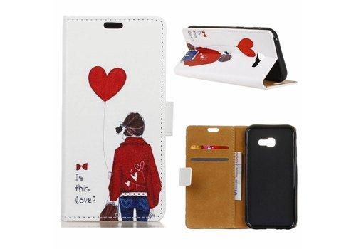 Samsung Galaxy Xcover 4 - Portemonnee Hoesje met Kaarthouder - Girl Holding Heart Balloon Design