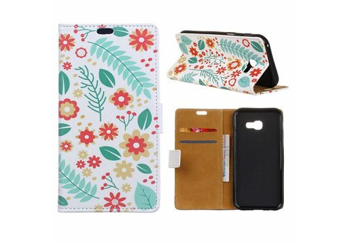 Samsung Galaxy Xcover 4 - Portemonnee Hoesje met Kaarthouder - Flowers and Leaves Design