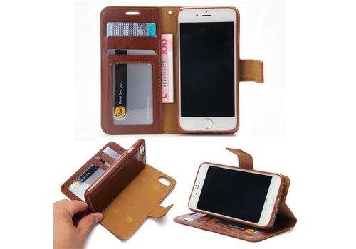 Apple iPhone 7 / 8 - Lychee PU Lederen Portemonnee Hoesje met Kaarthouder en Afneembaar Back Case - Bruin
