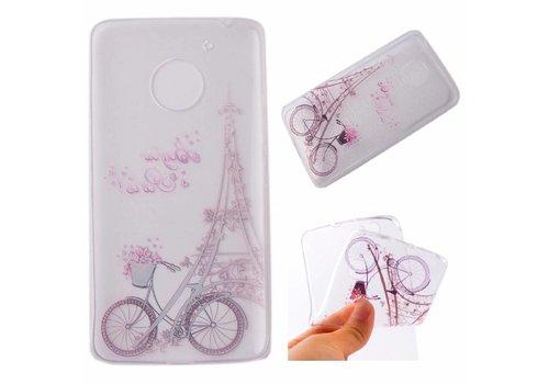 Motorola Moto G5 - Zachte TPU Hoesje Back Case - Eiffel Tower and Bicycle Design - Transparant