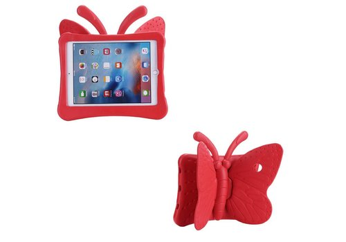 iPad Pro 9.7 / Air 2 / Air 1 - Kids Proof Cover Beschermd Tegen Krassen en Stoten - Vlinder Design - Rood