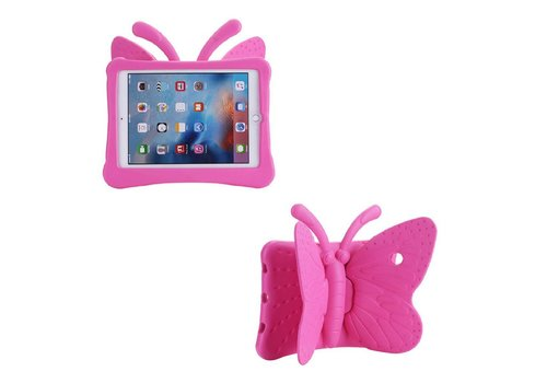iPad Pro 9.7 / Air 2 / Air 1 - Kids Proof Cover Beschermd Tegen Krassen en Stoten - Vlinder Design - Magenta Hot Pink