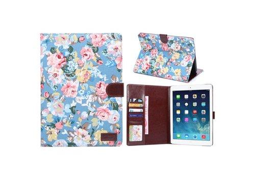Apple iPad Air 2 - Bloemen Design Tablet Cover met Portemonnee en Kaarthouder - Blauw
