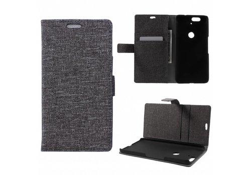 Huawei Nexus 6P - Denim Design Linnen Textuur Lederen Portemonnee Hoesje met Kaarthouder - Donker Grijs