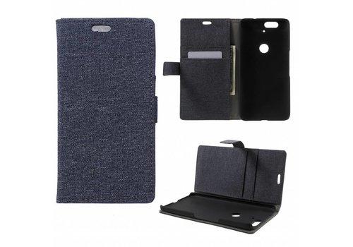 Huawei Nexus 6P - Denim Design Linnen Textuur Lederen Portemonnee Hoesje met Kaarthouder - Zwart