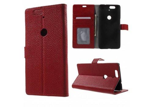 Huawei Nexus 6P Hoesje - PU Lederen TPU Portemonnee Case met Kaarthouder Lychee - Rood