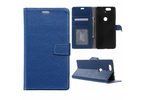 Huawei Nexus 6P Hoesje - PU Lederen TPU Portemonnee Case met Kaarthouder Lychee - Blauw