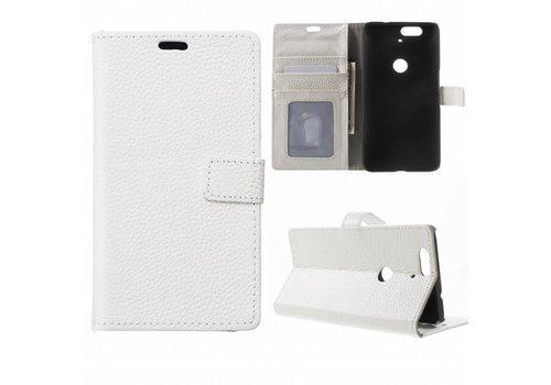 Huawei Nexus 6P Hoesje - PU Lederen TPU Portemonnee Case met Kaarthouder Lychee - Wit