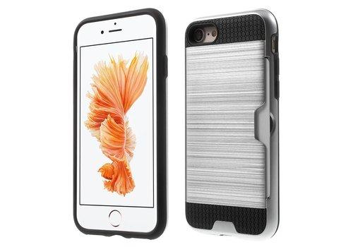 a7443992dce Apple iPhone 7 / 8 - Stevig Hybride Beschermhoesje met Kaarthouder - Zilver