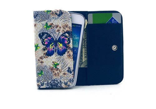 Apple iPhone 6 / 7 / 8 en Samsung Galaxy S6 / S7 / S8 - Universele PU Lederen Portemonnee Hoesje - Vlinder Design - Wit / Blauw